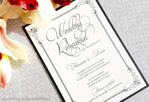 Rehearsal Invitations - Vintage Wedding Rehearsal Invitation