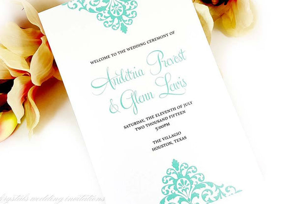 Ceremony Program Sample - Krystals Wedding Invitations