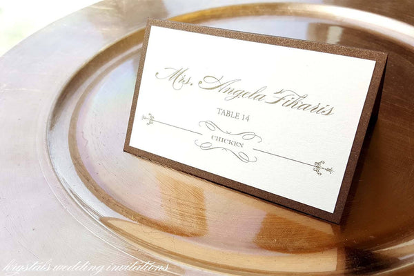 Menu, Table Card and Place Card Sample - Krystals Wedding Invitations