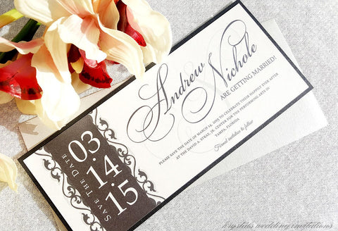Modern Damask Side Banner Save the Dates - Krystals Wedding Invitations