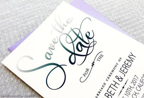Modern Gradient Save the Dates - Krystals Wedding Invitations