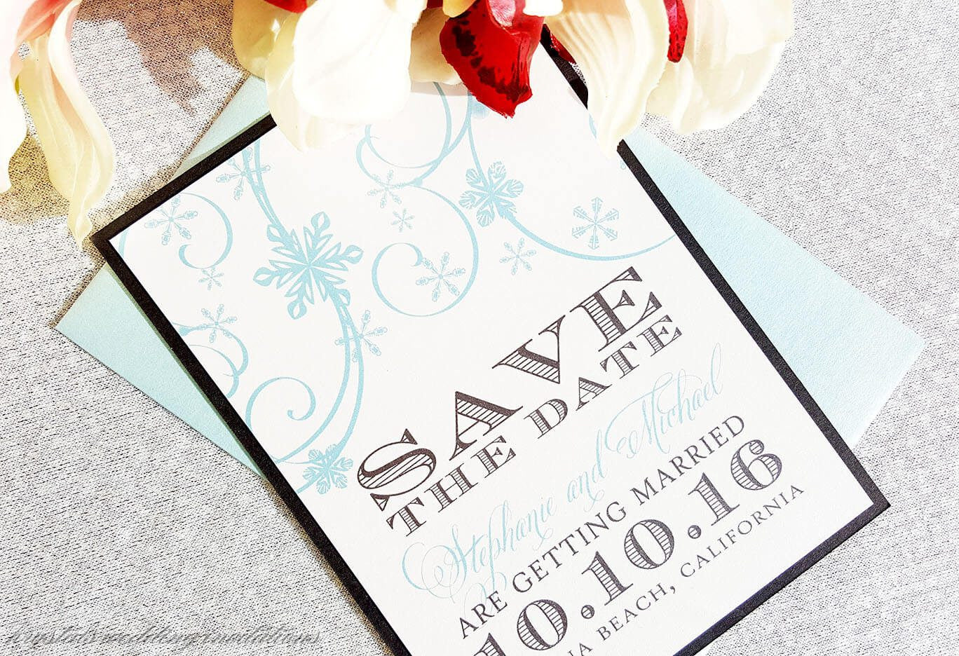 Save The Dates - Winter Wonderland Chic Save The Dates