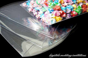 Clear Plastic PVC Pillow Boxes - Krystals Wedding Invitations