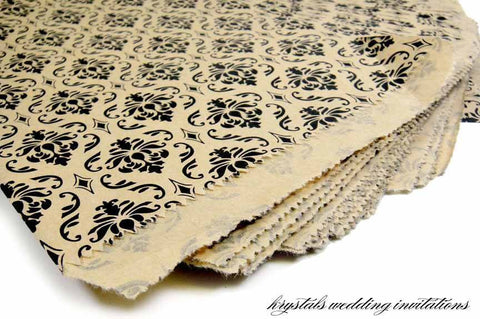Damask Kraft Gift/Favor Bags - Krystals Wedding Invitations