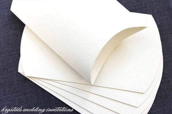 Emboss Fiori Floral Pattern Paper Pillow Boxes - White - Krystals Wedding Invitations