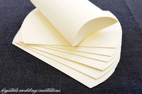 Emboss Quilt Pattern Paper Pillow Boxes - Off White - Krystals Wedding Invitations
