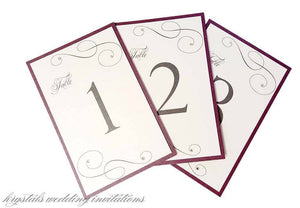 A Touch of Sparkle Wedding Table Number Cards - Krystals Wedding Invitations
