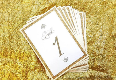 Bold and Damask Glitter Table Number Cards - Krystals Wedding Invitations