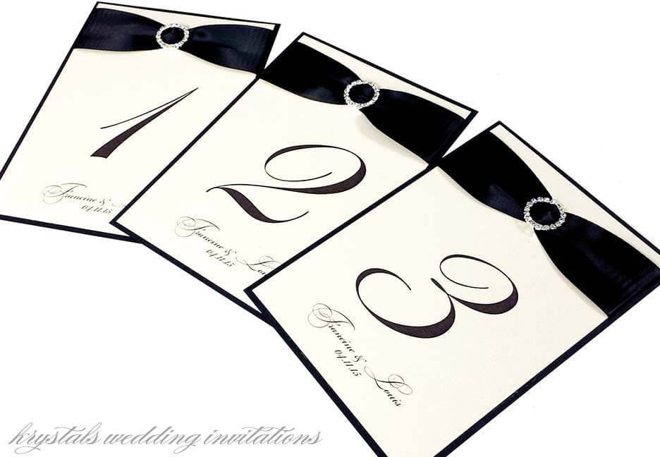 Formal & Elegant Rhinestone Buckle Satin Ribbon Wedding Table Cards - Krystals Wedding Invitations