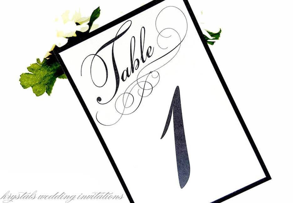 Modern Script Wedding Table Number Cards - Krystals Wedding Invitations
