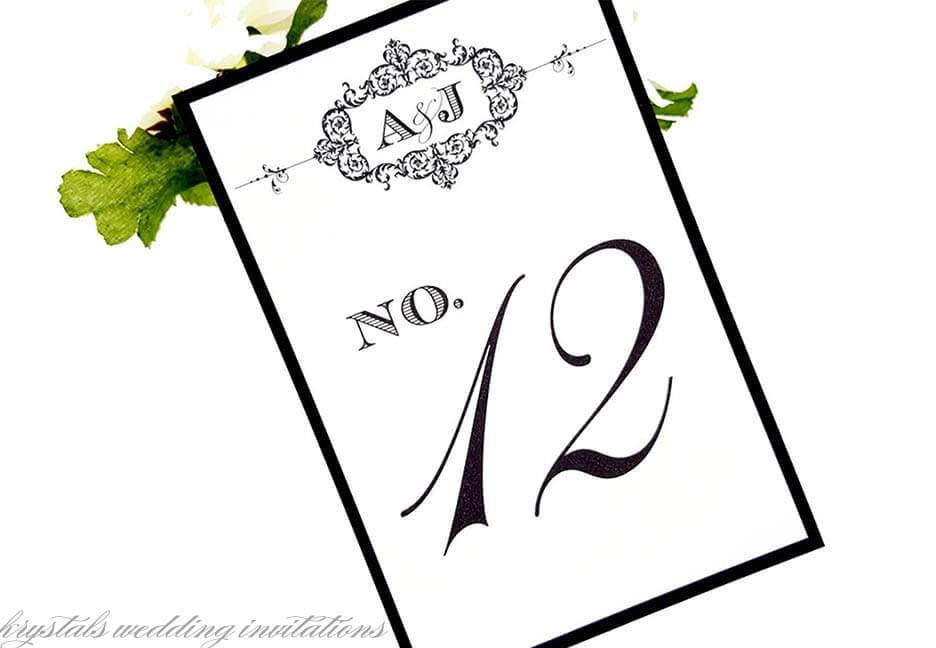 Shabby Chic Wedding Table Number Cards - Krystals Wedding Invitations