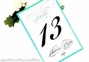 Table Cards - Tiffany Wedding Table Number Cards