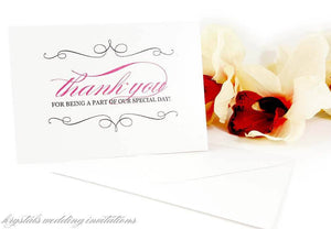 Thank You for Being a Part of Our Special Day Wedding Cards - Krystals Wedding Invitations