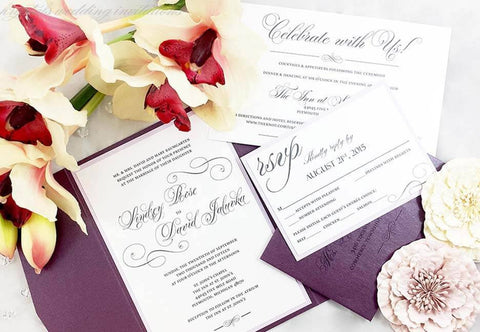 A Touch of Sparkle Suite - Rhinestone Pocketfold Wedding Invitation Suite - Krystals Wedding Invitations