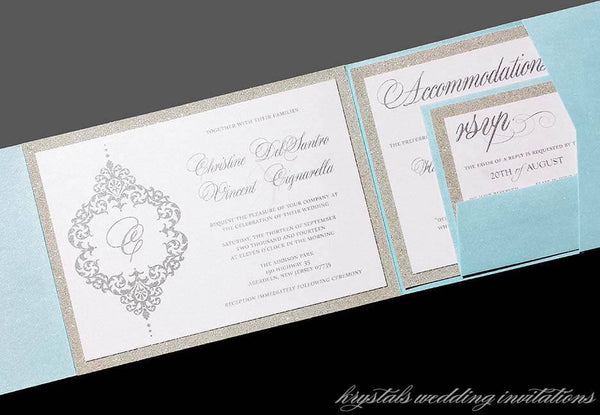 Bold Damask Monogram Glitter Pocketfold Wedding Invitation Suite - Krystals Wedding Invitations
