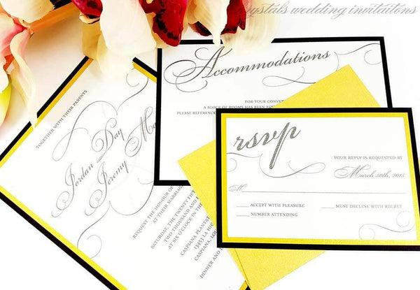 Bold & Luxurious Layered Wedding Invitation Suite - Krystals Wedding Invitations