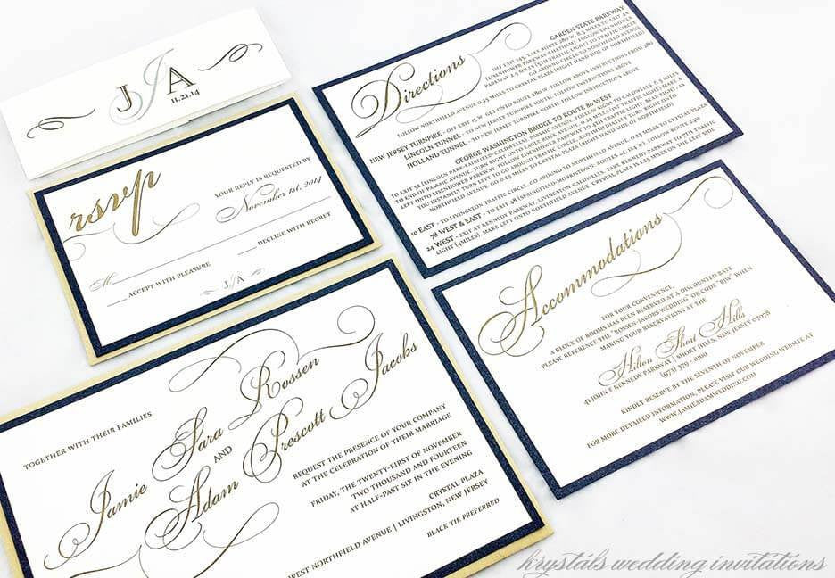 Calligraphy Layered Wedding Invitation Suite - Krystals Wedding Invitations