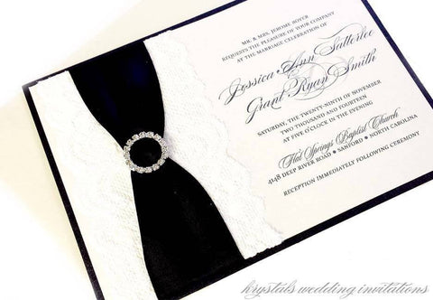 Formal & Elegant Rhinestone Buckle with Satin Ribbon and Lace Pocket Wedding Invitation Suite - Krystals Wedding Invitations