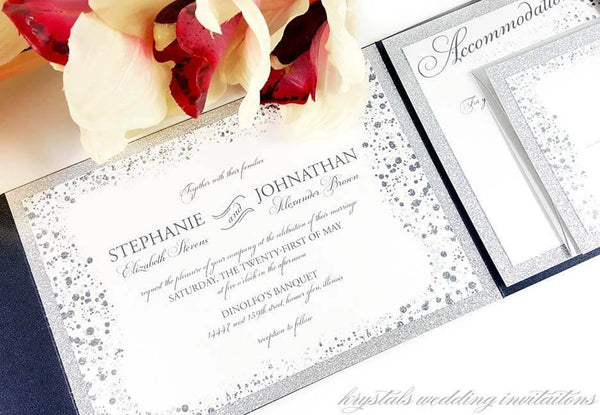 Wedding Invitations - Glitz & Glamour Suite - Glitter Pocketfold Wedding Invitations