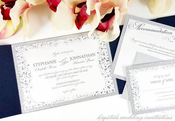 Glitz & Glamour Suite - Glitter Pocketfold Wedding Invitation Suite - Krystals Wedding Invitations