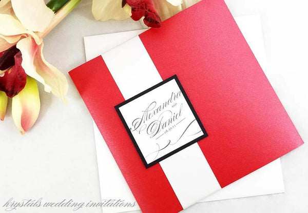 The Alexandra Suite - Modern Pocketfold with Satin Ribbon Band Wedding Invitation Suite - Krystals Wedding Invitations
