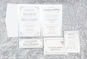 The Allison Suite - Reflective Foil Pocketfold Wedding Invitation Suite - Krystals Wedding Invitations