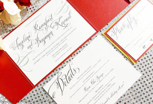 The Angelina Suite - Elegant Chic Pocketfold Wedding Invitation Suite - Krystals Wedding Invitations