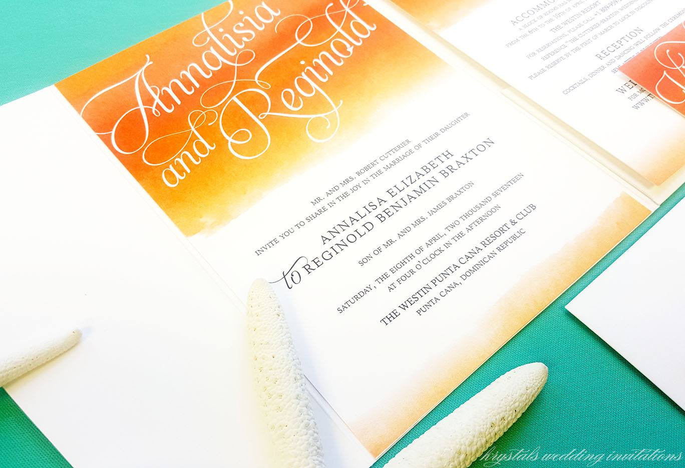 The Annalisia Suite - Watercolor Beach Inspired Pocketfold Wedding Invitation Suite - Krystals Wedding Invitations