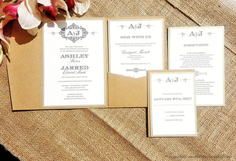 The Ashley Shabby Chic Damask Monogram Pocketfold Wedding Invitation Suite - Krystals Wedding Invitations
