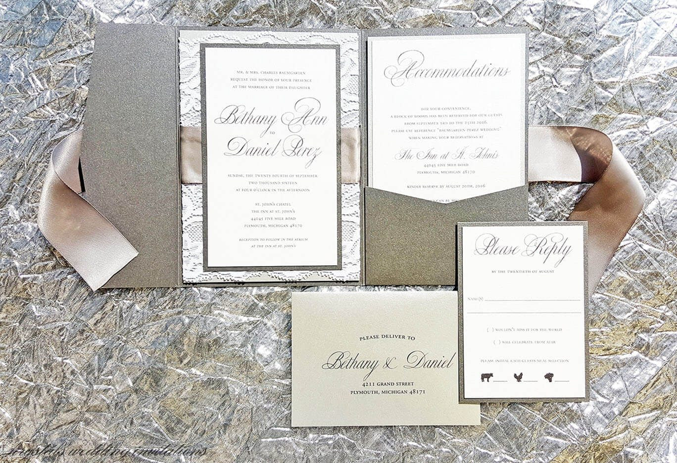 The Bethany Silver and Gray Suite - Satin Ribbon Bow and Lace Pocketfold Wedding Invitation Suite - Krystals Wedding Invitations