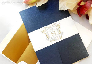 The Brittany Suite - Vintage Monogram Pocketfold Wedding Invitation Suite - Krystals Wedding Invitations