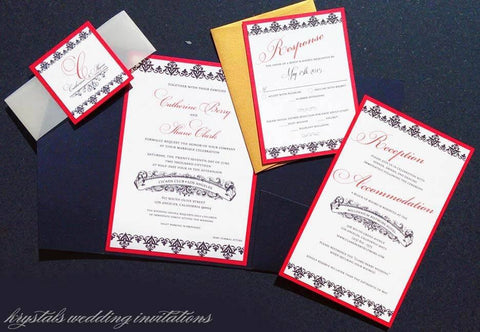 The Catherine Suite - Old Hollywood Style Pocketfold Wedding Invitation Suite - Krystals Wedding Invitations