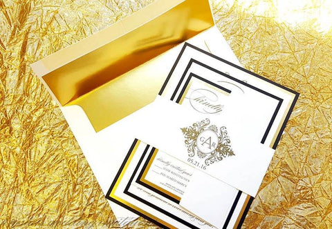 The Corral Suite - Monogram Reflective Foil Wedding Invitation Suite - Krystals Wedding Invitations