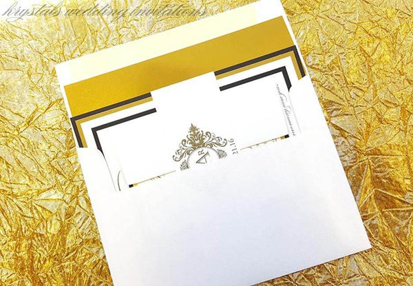 Wedding Invitations - The Corral Suite - Monogram Gold Reflective Foil Wedding Invitations