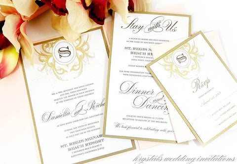 Wedding Invitations - The Daniella Suite - Vintage Meets Contemporary Pocketfold Wedding Invitations