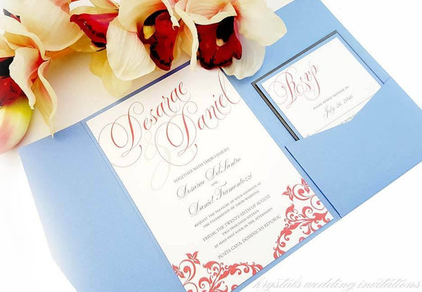 Wedding Invitations - The Desarae Suite - Beach Destination Pocketfold Wedding Invitations