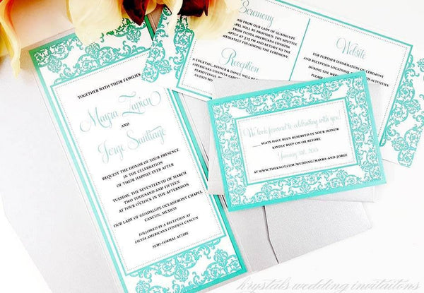 Wedding Invitations - The Mayra Suite - Damask Pocketfold Wedding Invitations