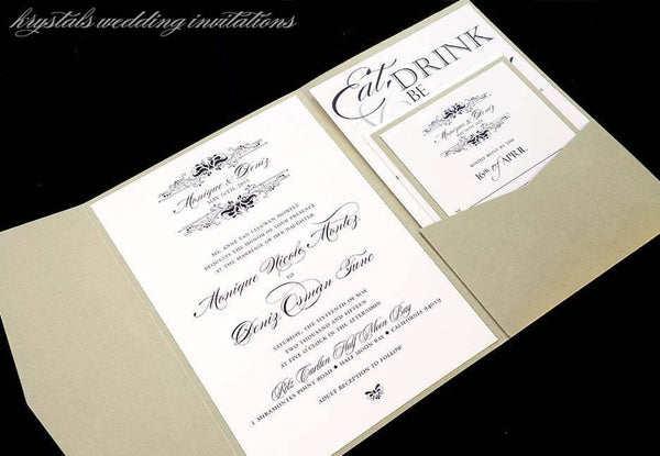 Wedding Invitations - The Monique Suite - Monogram Pocketfold Wedding Invitations