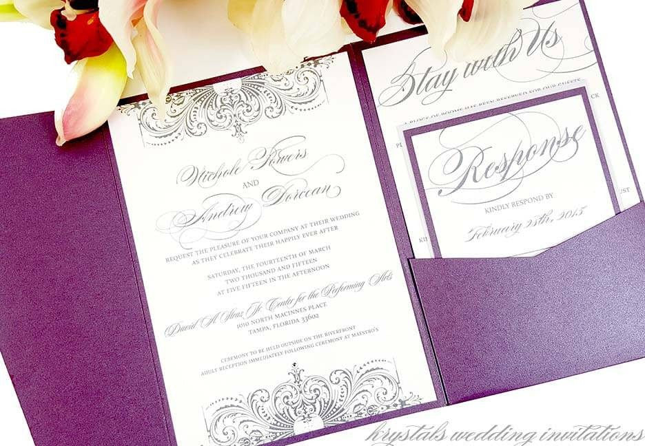Wedding Invitations - The Nichole Suite - Elegant And Eclectic Pocketfold Wedding Invitations