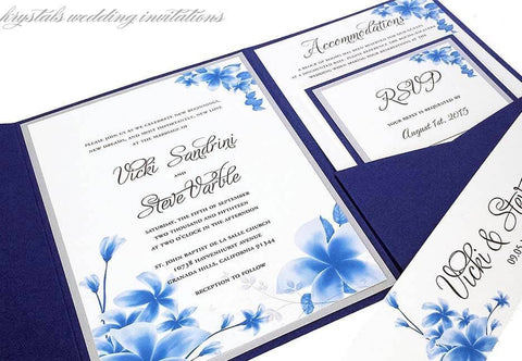 Wedding Invitations - The Vicki Suite - Floral Blues Pocketfold Wedding Invitations