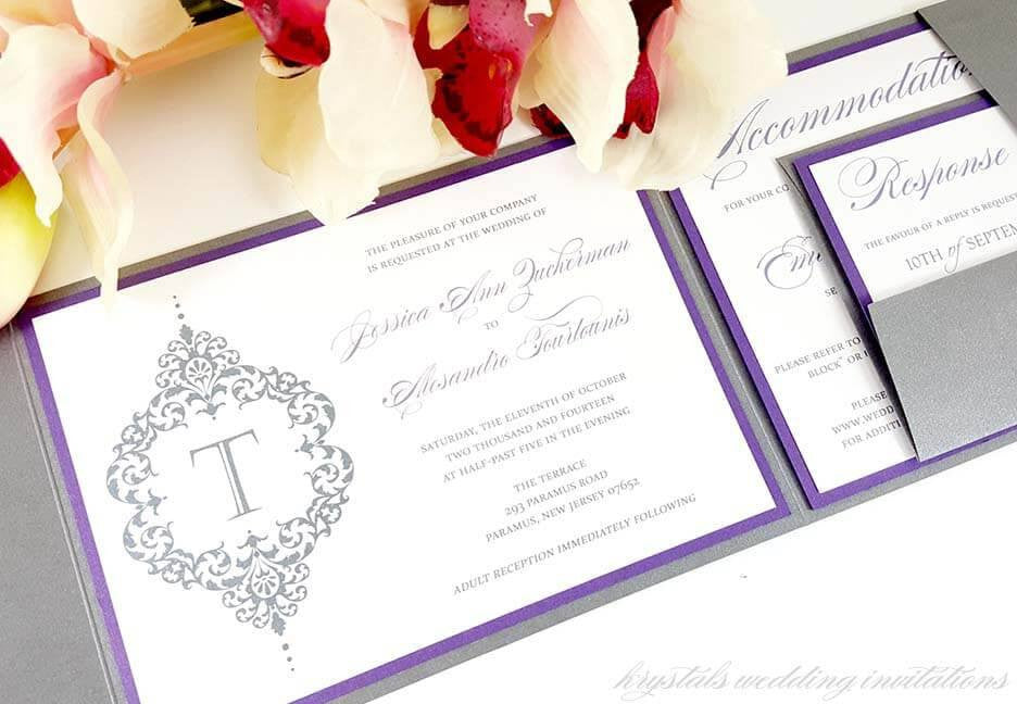 Wedding Invitations - The Zuckerman Suite - Bold Damask Monogram Pocketfold Wedding Invitations