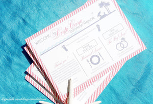 Welcome Cards - Tropical Welcome Itinerary Cards - Beach/Destination Wedding