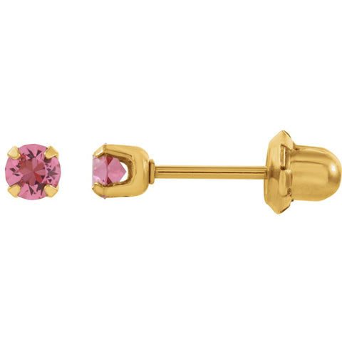 "14k Yellow Gold with Stainless Steel Solitaire ""October"" Birthstone Piercing Earrings"