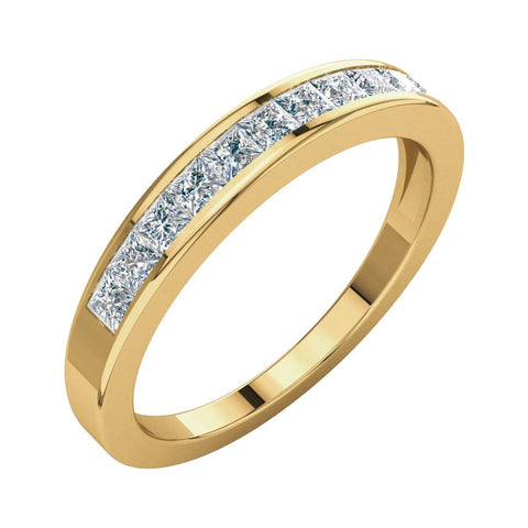 1/2 CTTW Princess-Cut Diamond Anniversary Band in 14k Yellow Gold (Size 5 )