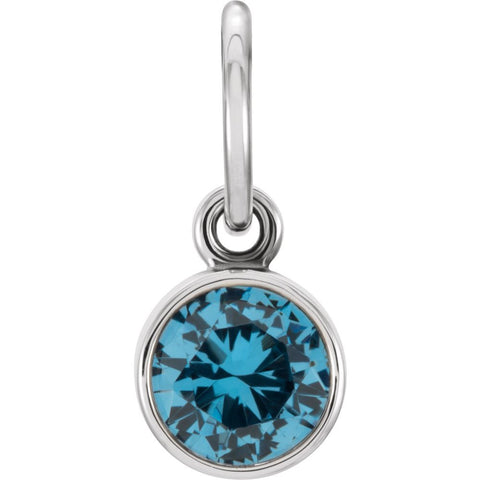 14k White Gold Imitation Blue Zircon Birthstone Charm
