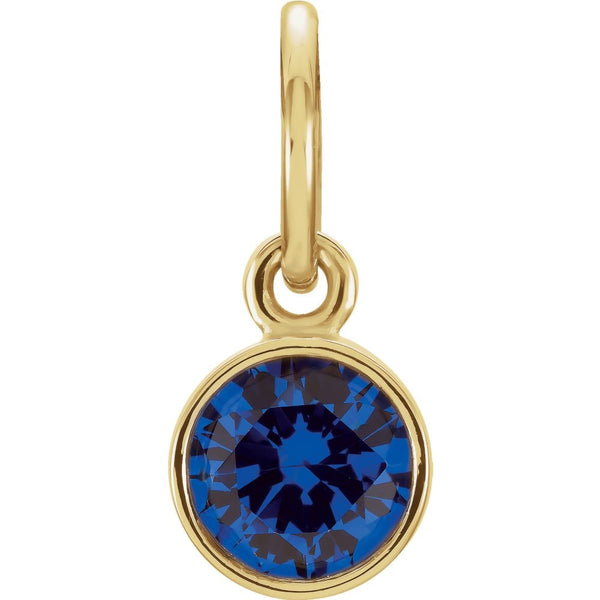 14k Yellow Gold Imitation Blue Sapphire Birthstone Charm