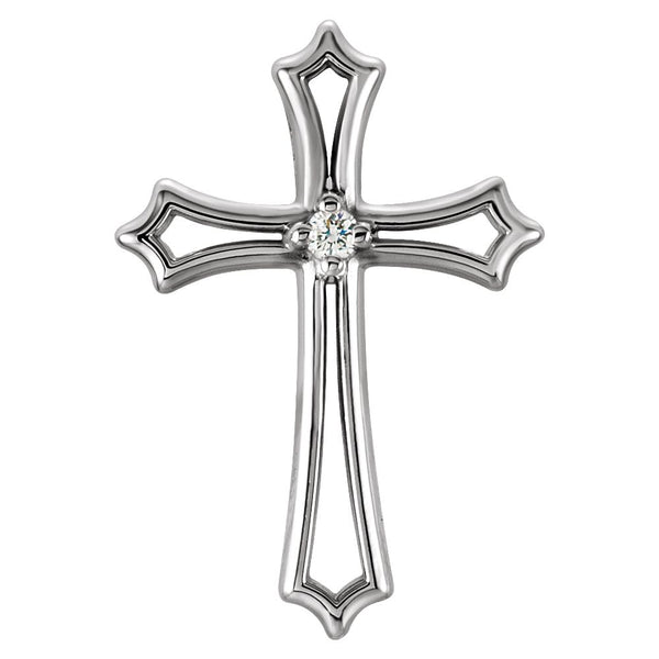 14k White Gold .015 CTW Diamond Cross Pendant