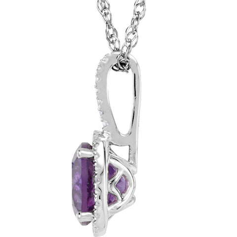 "Sterling Silver Amethyst & .015 CTW Diamond 18"" Necklace"