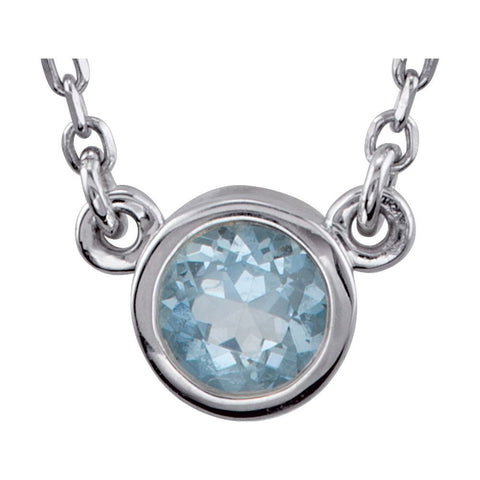 "Sterling Silver Aquamarine Bezel 18"" Necklace"