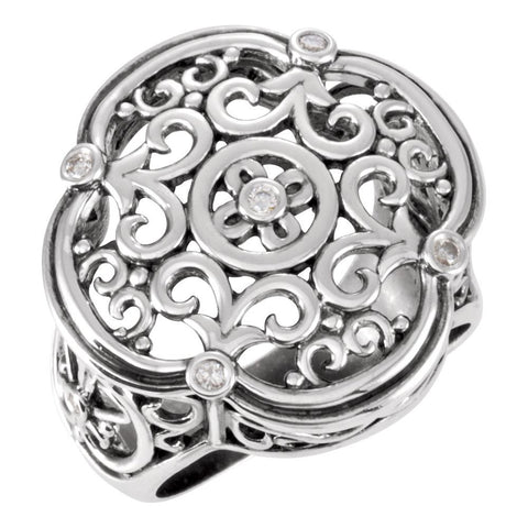 1/10 CTTW Filigree Design Ring in Sterling Silver ( Size 6 )
